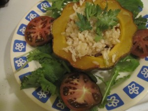 Vegan Recipe - Baked Acorn Squash Stuffed with Rice