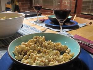 Vegan comfort food dinner - dairy-free macaroni and cheese