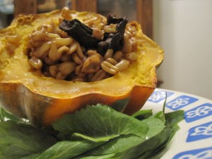 squash filled with kamut
