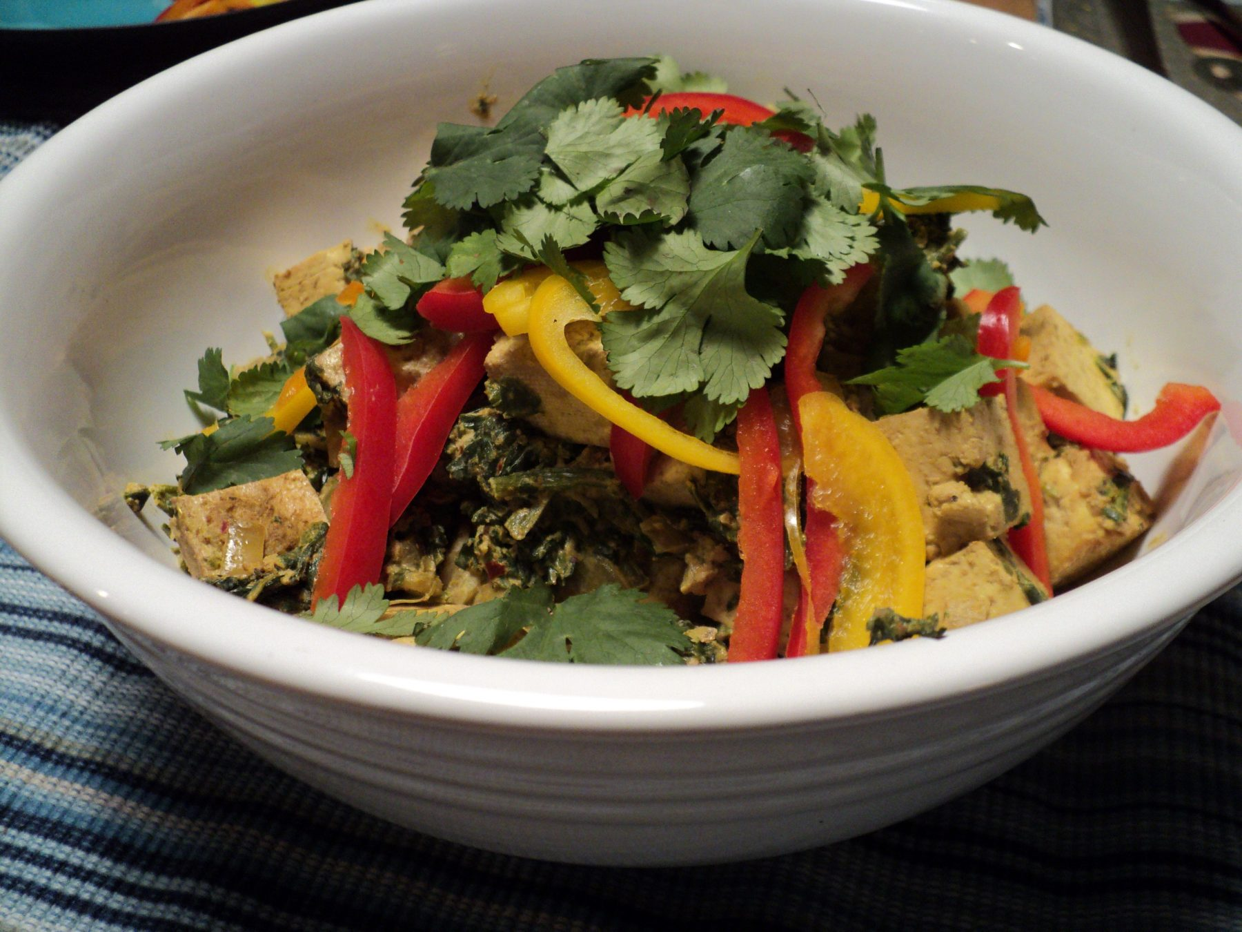 Vegan Recipe - Tofu Saag with Coconut Milk