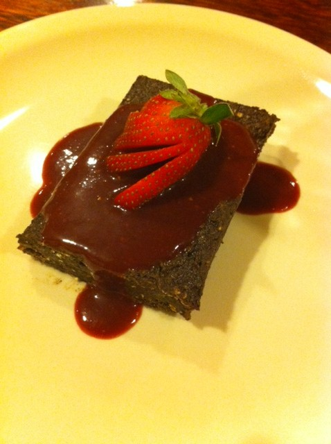 Raw Chocolate Brownies with Strawberry Acai Sauce