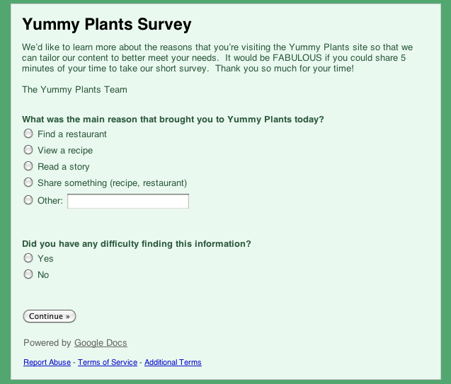 Yummy Plants Survey – Let Us Know What Is Important to You