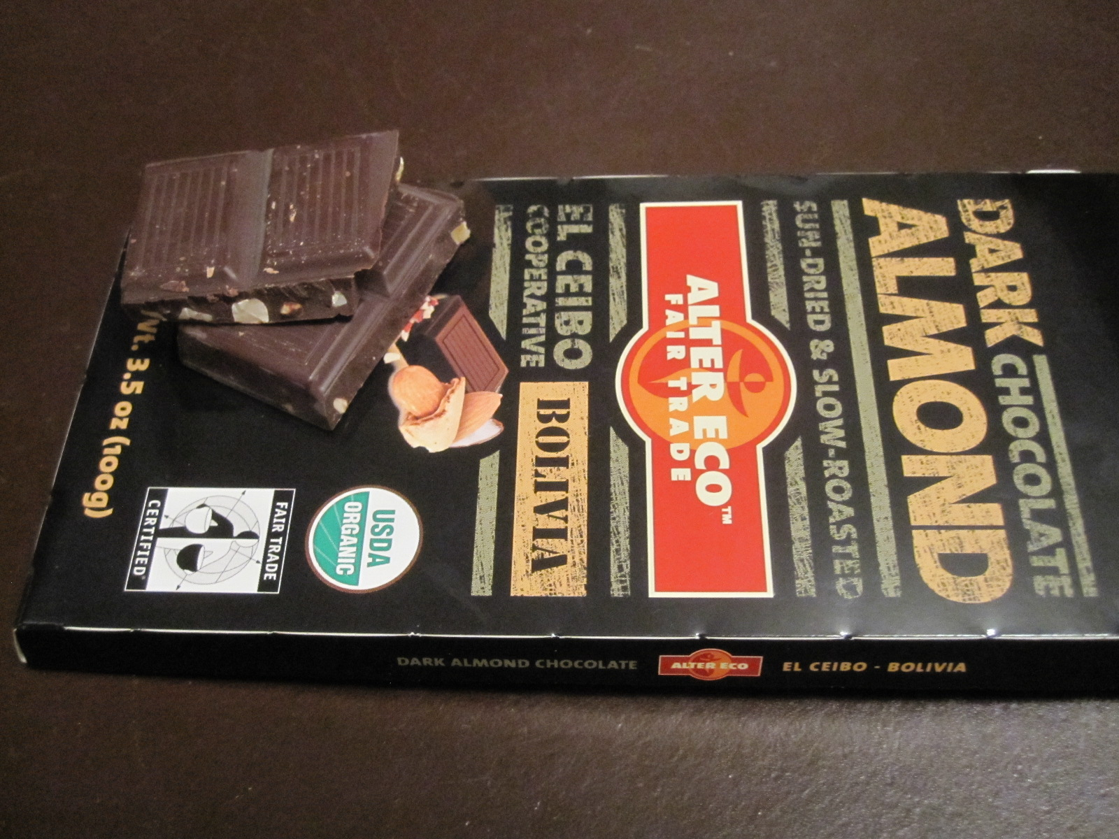 Accidentally Vegan: Alter Eco Fair Trade Organic Dark Chocolate Almond Bar!
