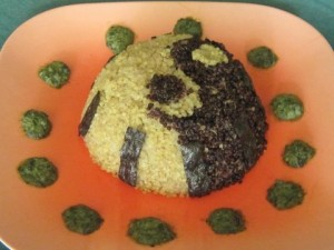 Vegan Recipe - Black & White Quinoa Timbale with Wasabi Pesto and Nori Strips
