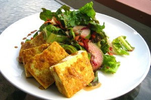 Vegan Recipe - Curry Fried Tofu Salad