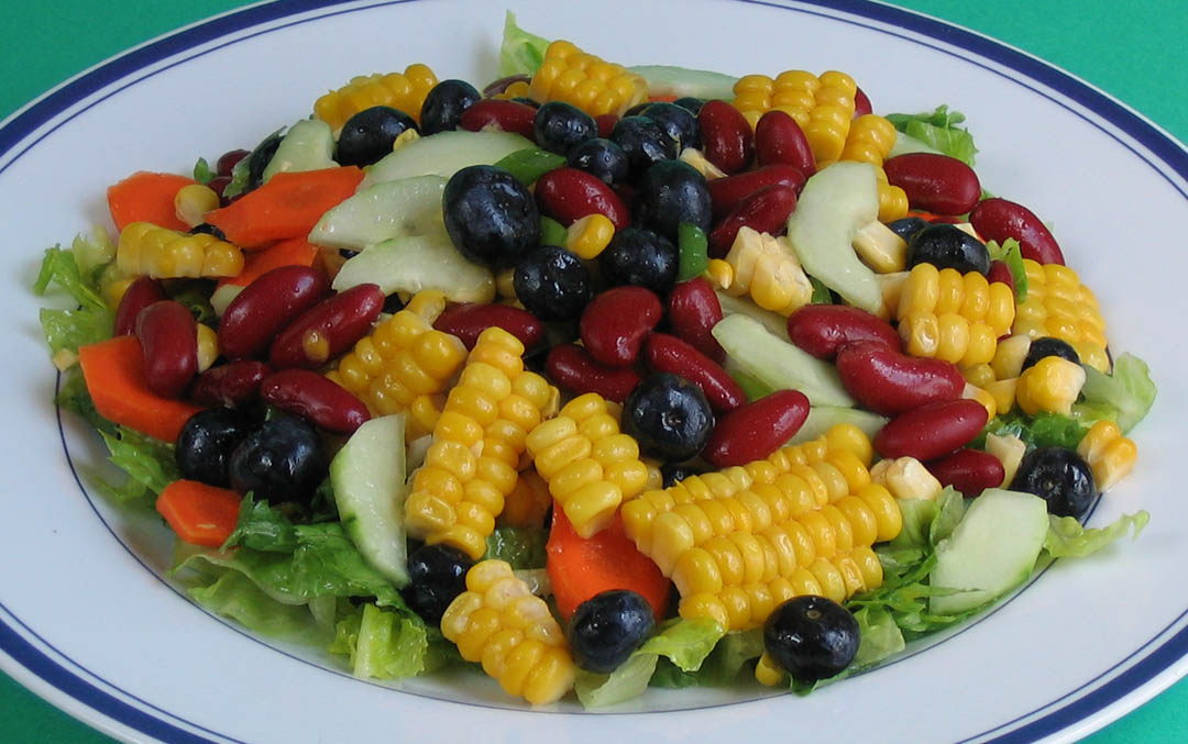 Vegan Recipe - Corn, Red Bean, and Blueberry Salad with Mango Dressing