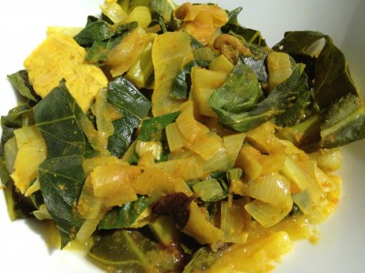 Vegan Recipe - Tempeh Greens with Curry in a Hurry
