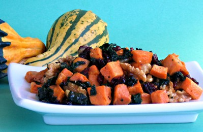 Vegan Recipe - Roasted Sweet Potatoes and Kale with Pecans and Cranberries