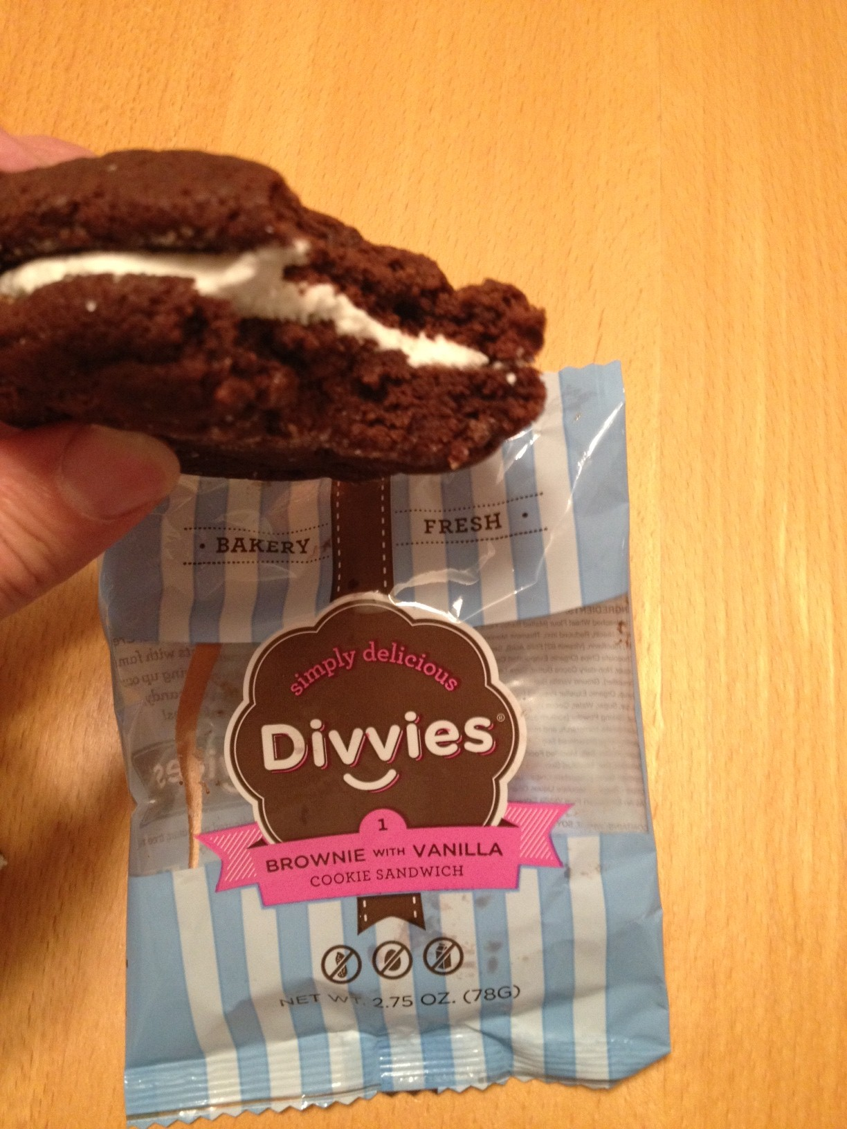 Divvies Brownie Cookie Sandwich with Vanilla Cream
