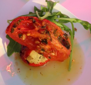 The Breeze at Hyatt Regency's tomato and cheese-stuffed red pepper