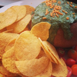Sage Organic Vegan Bistro's Baked Artichoke Spinach Dip in a Bread Bowl with Corn Chips