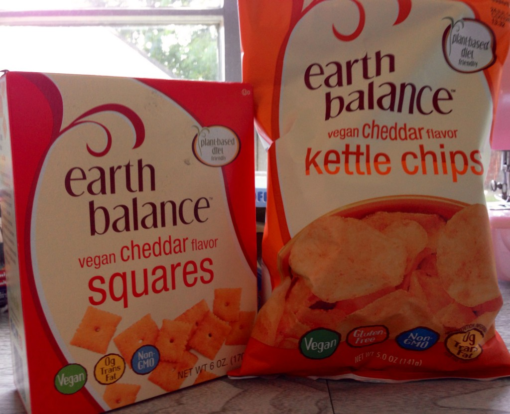 Earth Balance vegan cheese squares and cheddar chips