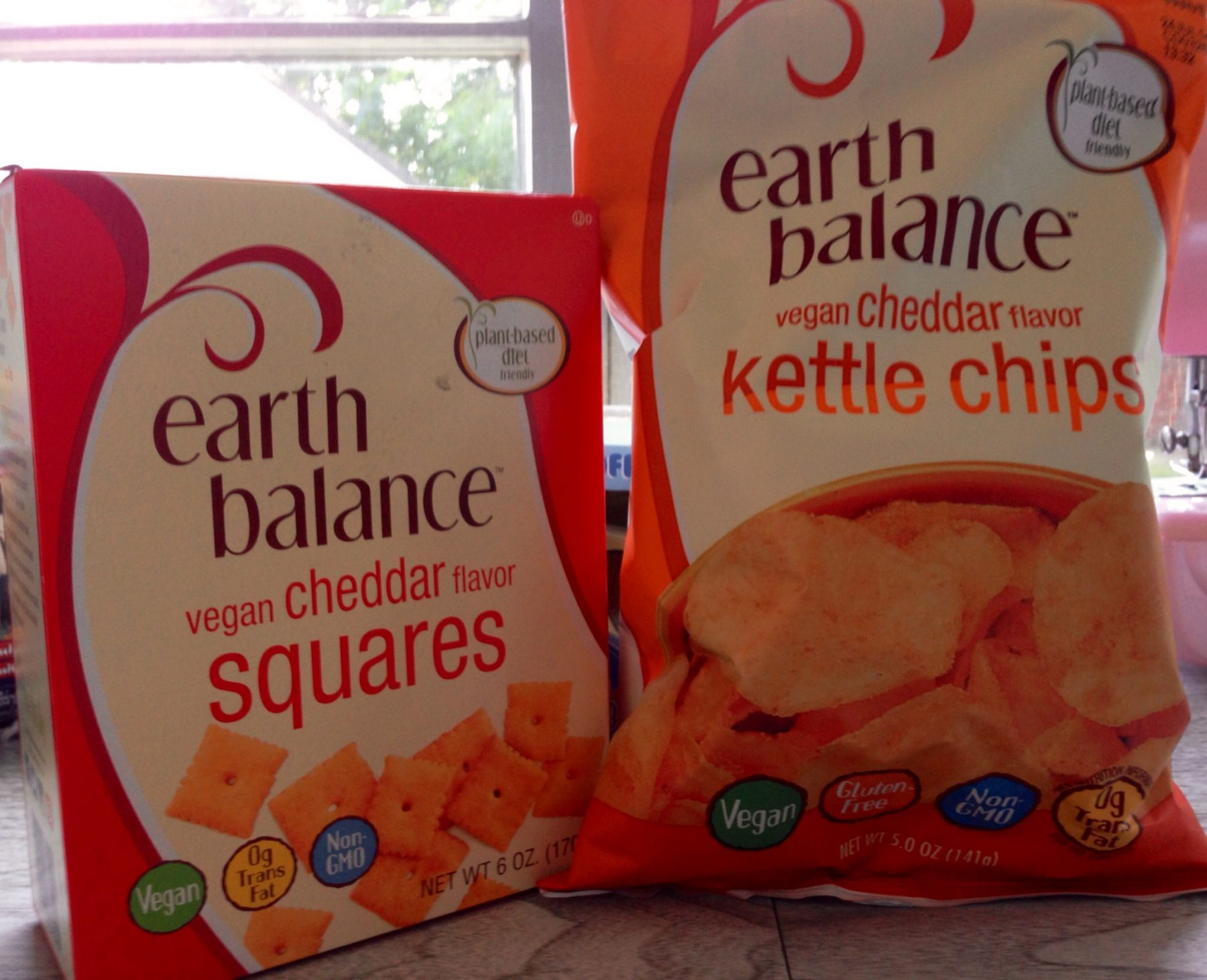 Earth Balance Vegan Cheddar Squares & Vegan Cheddar Kettle Chips