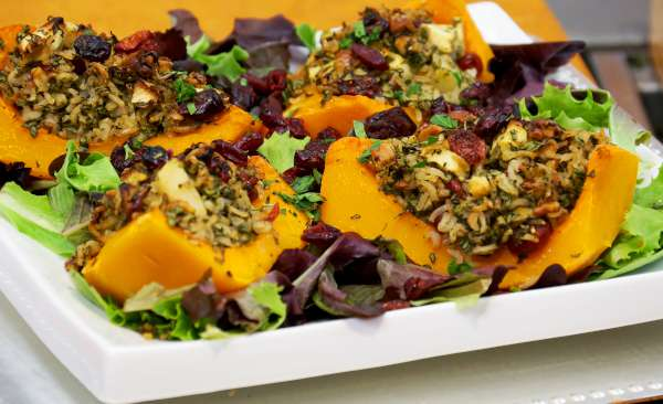 Vegan Recipe - Stuffed Butternut Squash with Apples and Cranberries