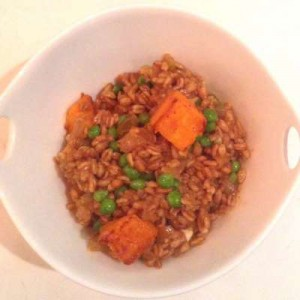 Vegan Recipe - Fall Harvest Farro with Butternut Squash, Peas and Golden Raisins