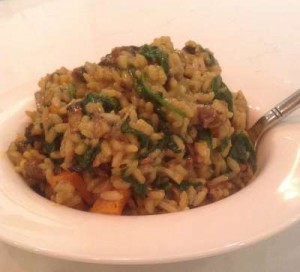 Vegan Recipe - Butternut Squash Risotto with Mushrooms and Spinach