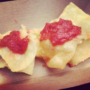 Fried ravioli made with Kite Hill almond ricotta cheese made by Whole Foods Market Glendale. Photo: Jennifer Chen