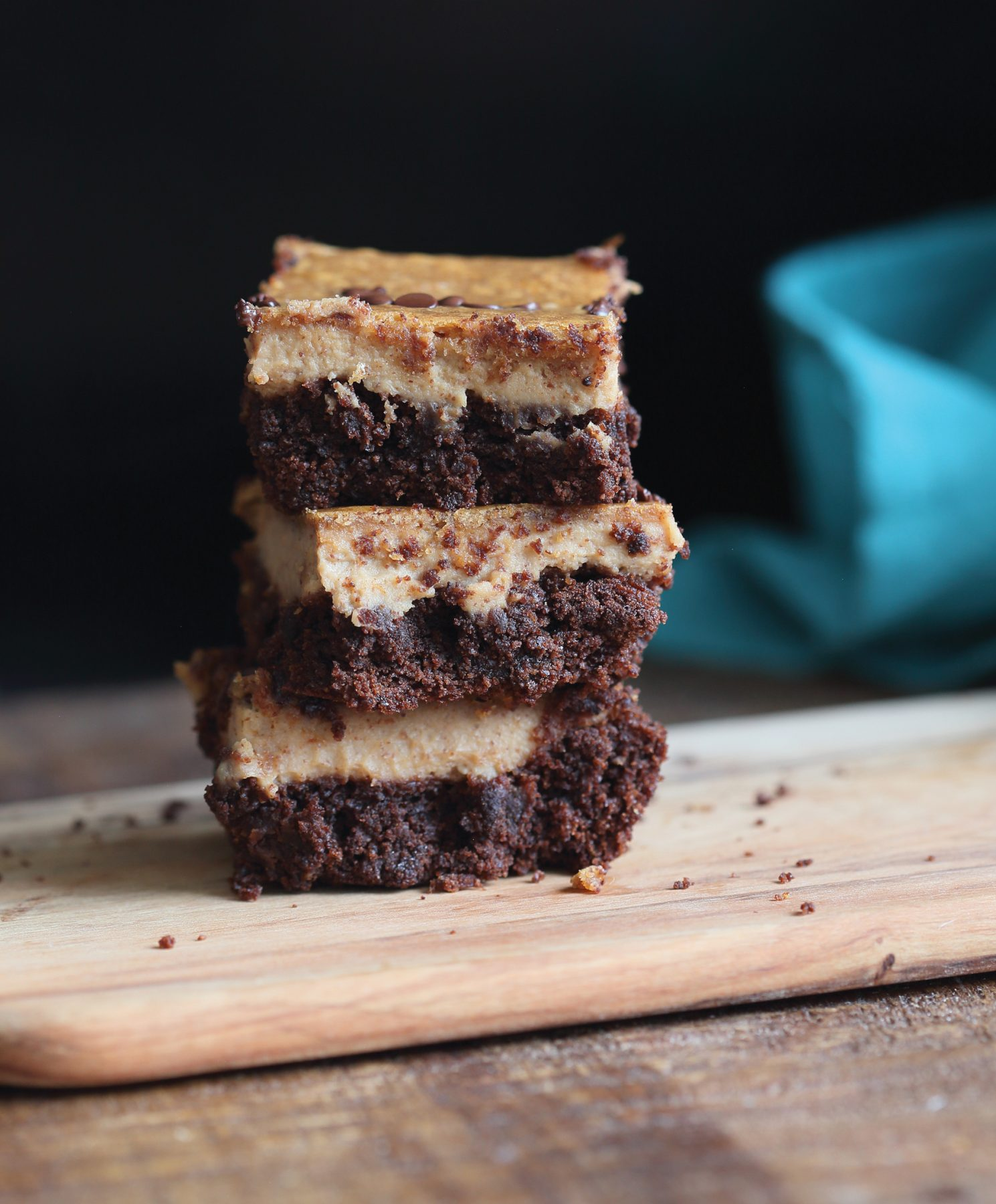 Vegan Recipe - Almond Butter Cheesecake Brownie Bars
